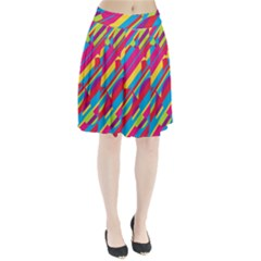 Colorful summer pattern Pleated Mesh Skirt