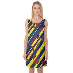 Colorful pattern Sleeveless Satin Nightdress