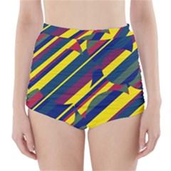 Colorful pattern High-Waisted Bikini Bottoms