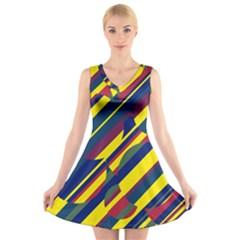 Colorful pattern V-Neck Sleeveless Skater Dress