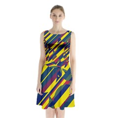 Colorful pattern Sleeveless Waist Tie Dress