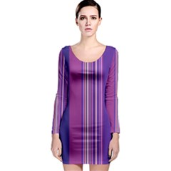 Striped Color Long Sleeve Bodycon Dress