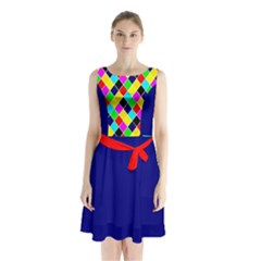 Harlequine Black and Bright Pastel Pattern Sleeveless Chiffon Waist Tie Dress