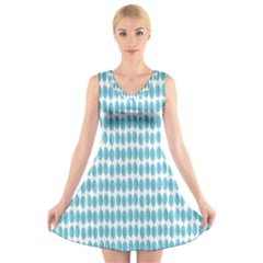 Blue Watercolour Leaf Pattern V-Neck Sleeveless Skater Dress