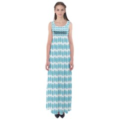 Blue Watercolour Leaf Pattern Empire Waist Maxi Dress