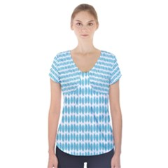 Blue Watercolour Leaf Pattern Short Sleeve Front Detail Top