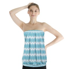 Blue Watercolour Leaf Pattern Strapless Top