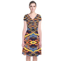 Art Digital (5)jjy Short Sleeve Front Wrap Dress