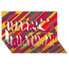 Colorful hot pattern Happy Birthday 3D Greeting Card (8x4)