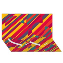 Colorful hot pattern Twin Heart Bottom 3D Greeting Card (8x4)
