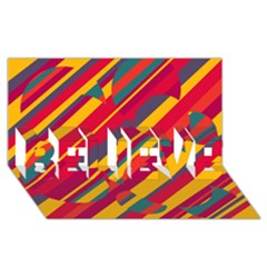 Colorful hot pattern BELIEVE 3D Greeting Card (8x4)