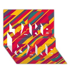 Colorful hot pattern TAKE CARE 3D Greeting Card (7x5)
