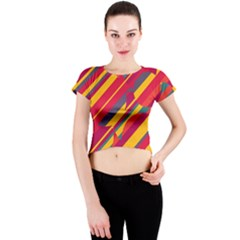 Colorful hot pattern Crew Neck Crop Top