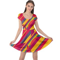 Colorful hot pattern Cap Sleeve Dresses