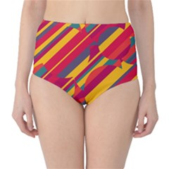 Colorful hot pattern High-Waist Bikini Bottoms