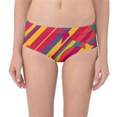 Colorful hot pattern Mid-Waist Bikini Bottoms