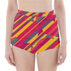Colorful hot pattern High-Waisted Bikini Bottoms