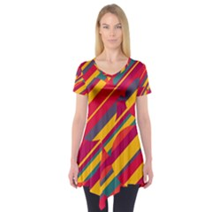Colorful hot pattern Short Sleeve Tunic