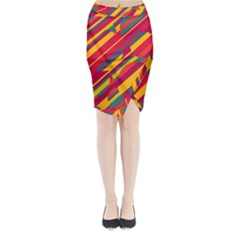 Colorful hot pattern Midi Wrap Pencil Skirt
