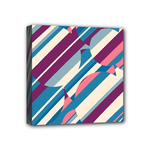 Blue and pink pattern Mini Canvas 4  x 4