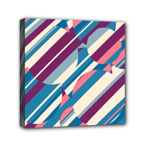 Blue and pink pattern Mini Canvas 6  x 6