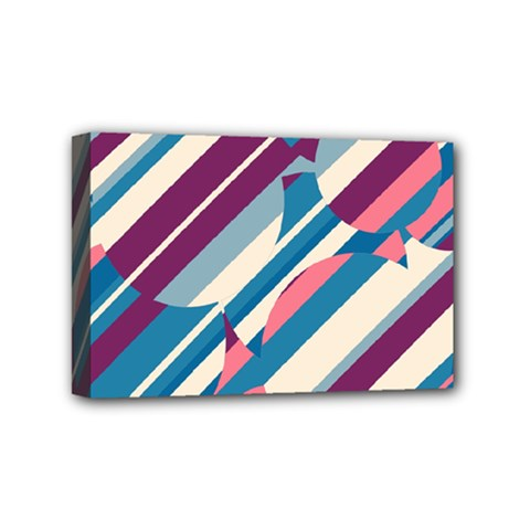 Blue and pink pattern Mini Canvas 6  x 4
