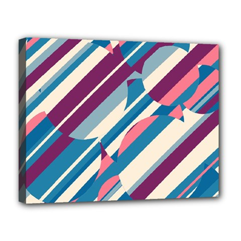 Blue and pink pattern Canvas 14  x 11