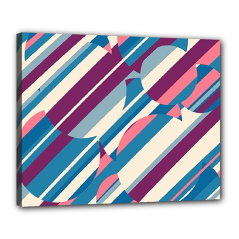 Blue and pink pattern Canvas 20  x 16