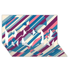 Blue and pink pattern MOM 3D Greeting Card (8x4)