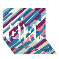 Blue and pink pattern GIRL 3D Greeting Card (7x5)