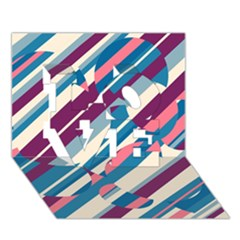 Blue and pink pattern LOVE 3D Greeting Card (7x5)