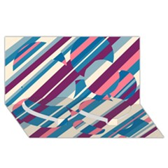 Blue and pink pattern Twin Heart Bottom 3D Greeting Card (8x4)