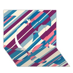 Blue And Pink Pattern Circle 3d Greeting Card (7x5)
