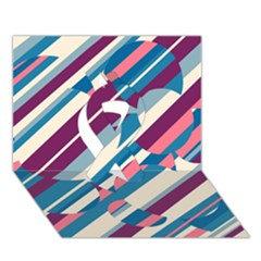Blue And Pink Pattern Ribbon 3d Greeting Card (7x5)