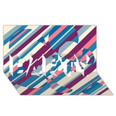 Blue and pink pattern PARTY 3D Greeting Card (8x4)