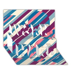 Blue and pink pattern WORK HARD 3D Greeting Card (7x5)