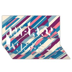 Blue and pink pattern Merry Xmas 3D Greeting Card (8x4)