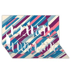 Blue And Pink Pattern Laugh Live Love 3d Greeting Card (8x4)