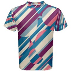 Blue and pink pattern Men s Cotton Tee