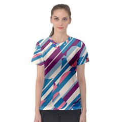 Blue and pink pattern Women s Sport Mesh Tee