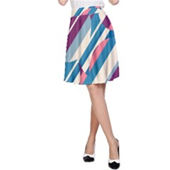 Blue and pink pattern A-Line Skirt