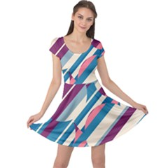 Blue and pink pattern Cap Sleeve Dresses
