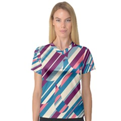 Blue and pink pattern Women s V-Neck Sport Mesh Tee