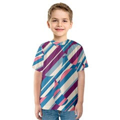 Blue and pink pattern Kid s Sport Mesh Tee