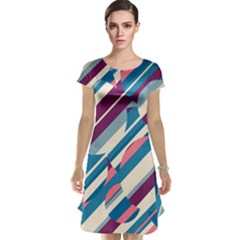 Blue and pink pattern Cap Sleeve Nightdress