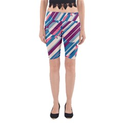Blue And Pink Pattern Yoga Cropped Leggings