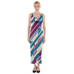Blue and pink pattern Fitted Maxi Dress