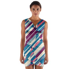 Blue And Pink Pattern Wrap Front Bodycon Dress