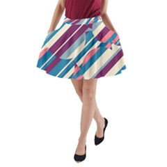 Blue and pink pattern A-Line Pocket Skirt