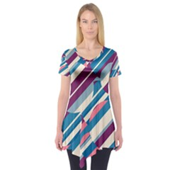 Blue And Pink Pattern Short Sleeve Tunic